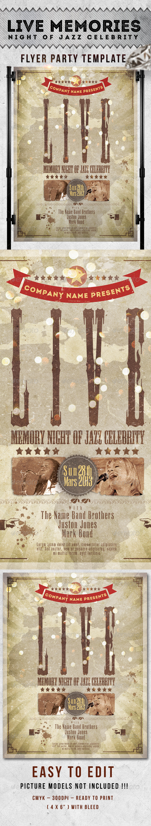Live Celebrity Night Jazz Flyer Template - Events Flyers