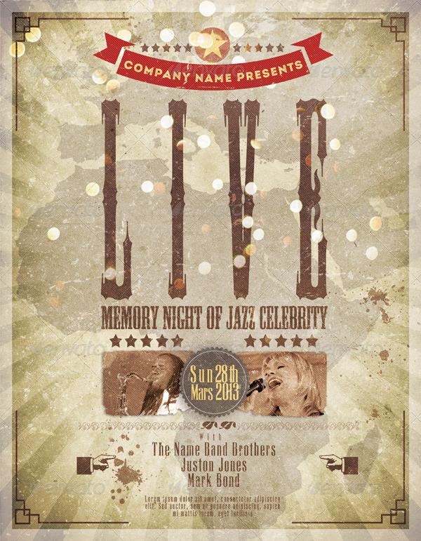 Live Celebrity Night Jazz Flyer Template