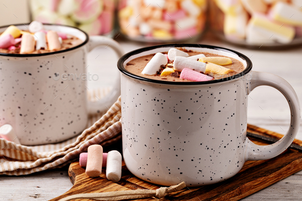 Hot chocolate with marshmallow - Stock Photo - Images
