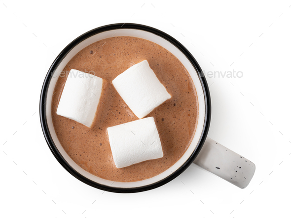 Cup of hot chocolate with marshmallow - Stock Photo - Images
