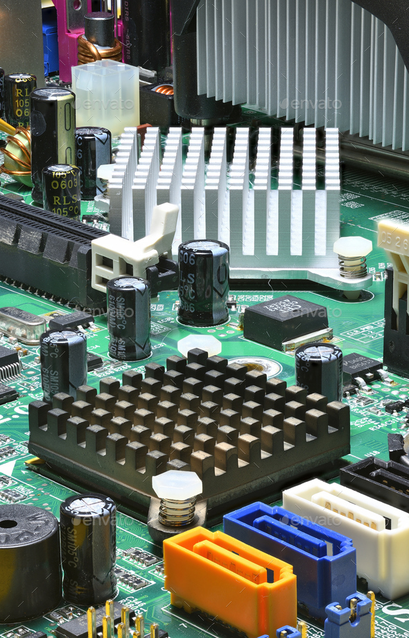 Close up detail of computer electronic board - Stock Photo - Images