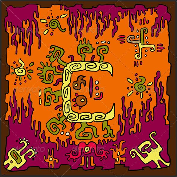 Ethnic Abstract Orange Background - Backgrounds Decorative