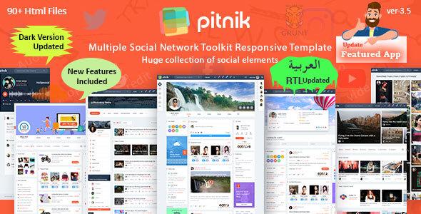 Pitnik – Social Network Social Media Community UI Toolkit Responsive Template