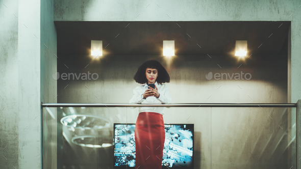 Woman entrepreneur on office balcony - Stock Photo - Images