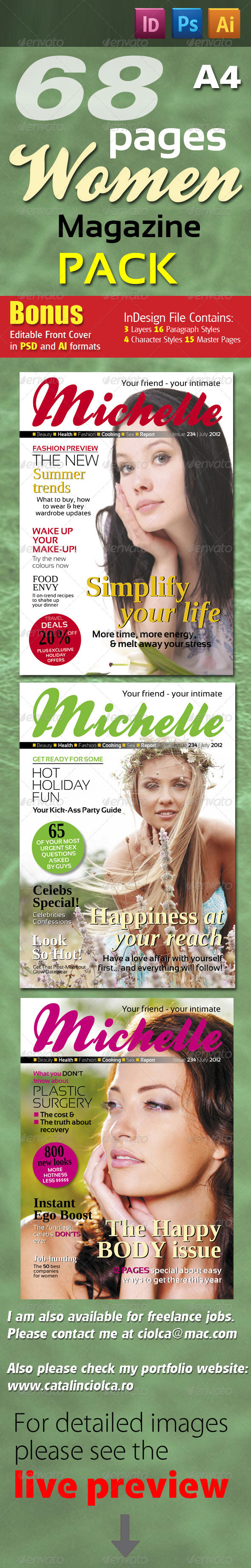 68 Pages Women Magazine Pack - Magazines Print Templates
