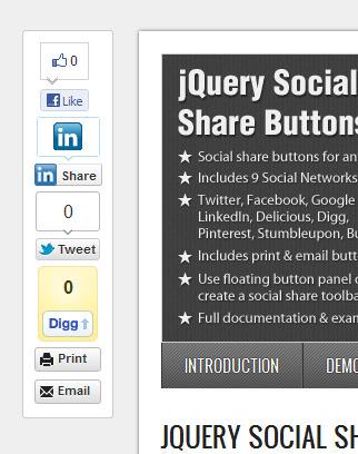jQuery Social Share Buttons Plugin
