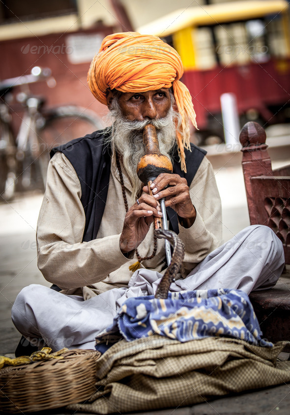 snake charmer - Stock Photo - Images