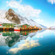 Outstanding panoramic view of small fishing village Ramberg at sunrise. - PhotoDune Item for Sale