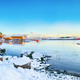Amazing winter scenery of Moskenes village with ferryport and famous Moskenes parish Churc - PhotoDune Item for Sale
