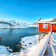 Charming winter view on Hamnoy village and bridge to Olenilsoya island. - PhotoDune Item for Sale
