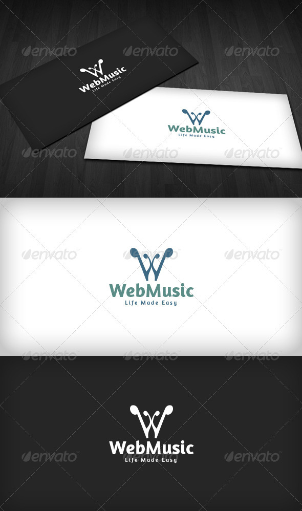 Web Music Logo - Letters Logo Templates