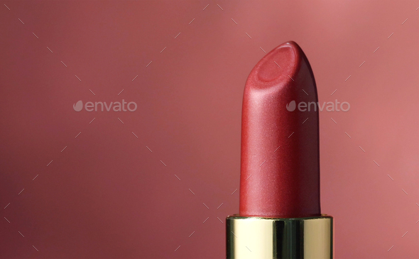 close up of red lipstick - Stock Photo - Images