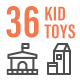 36 Kid and Toys Line Icon Set