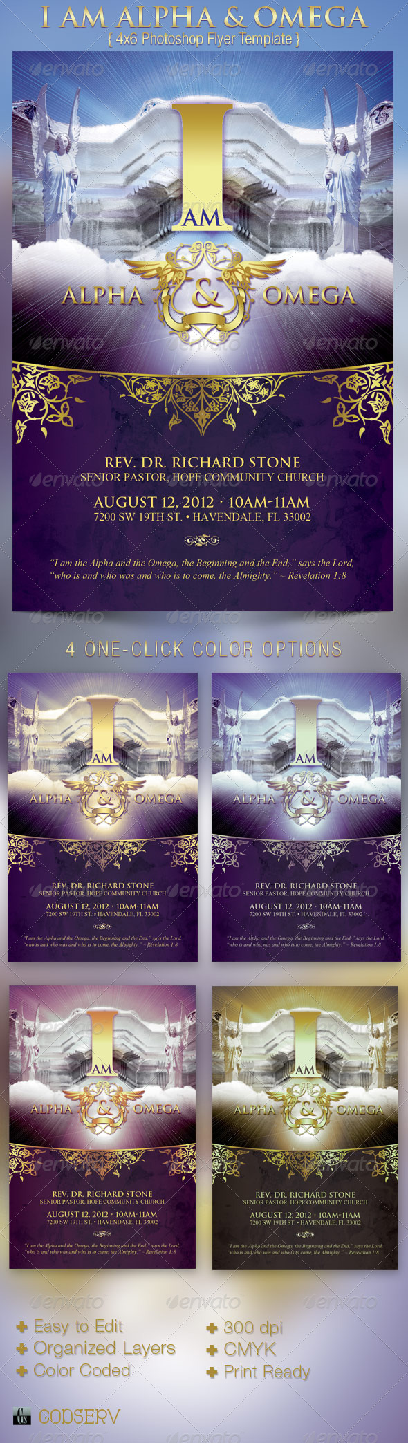 I Am Alpha and Omega Church Flyer Template - Church Flyers
