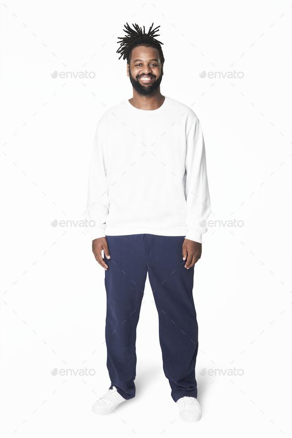 Man's white sweatshirt blue pants plus size fashion - Stock Photo - Images