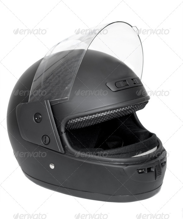 Black motorcycle helmet - Stock Photo - Images