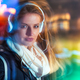 Woman in city at night among neon moving lights, fashion portrait - PhotoDune Item for Sale