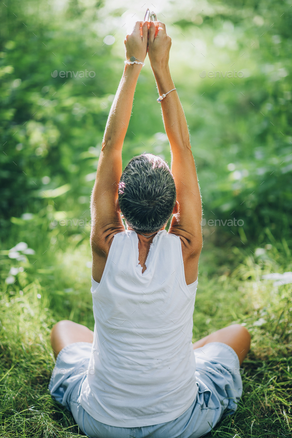 Practicing Mindfulness for Gratitude and Fulfilment, Feeling Connected with Nature - Stock Photo - Images