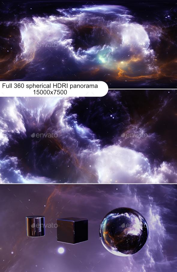 360 degree stellar space background with nebula. Panorama, environment 360 HDRI map