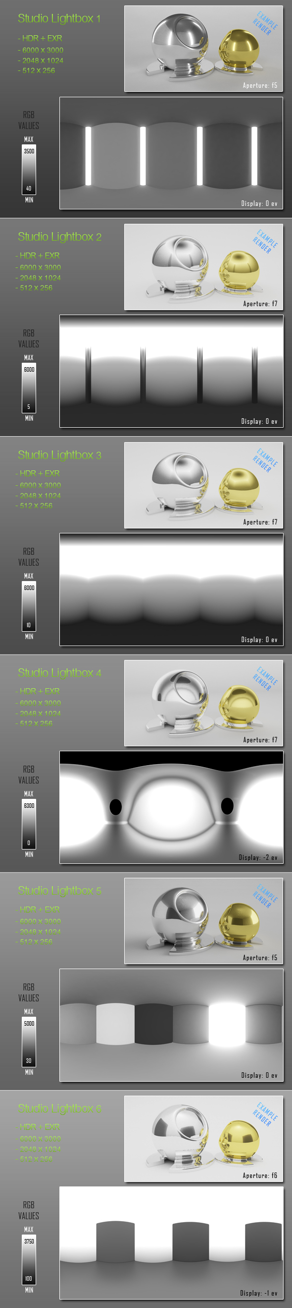 HDRI - 6 Light Tent Maps - 3DOcean Item for Sale