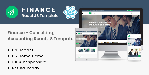Exceptional Finance – Consulting, Accounting React JS Template