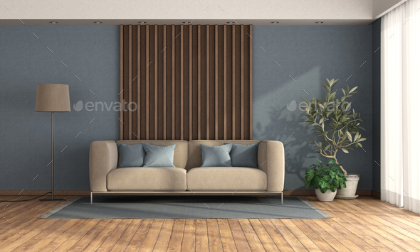 Living room with sofa against wooden panel - Stock Photo - Images