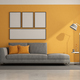 Gray and orange modern living room - PhotoDune Item for Sale