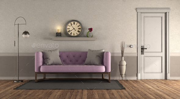 Classic style living room with pink sofa - Stock Photo - Images