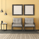 Two wooden armchairs in a yellow room - PhotoDune Item for Sale