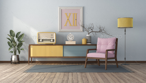 Vintage style living room with pastel color - Stock Photo - Images