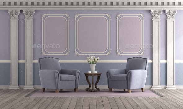 Classic style living room with pastel color - Stock Photo - Images
