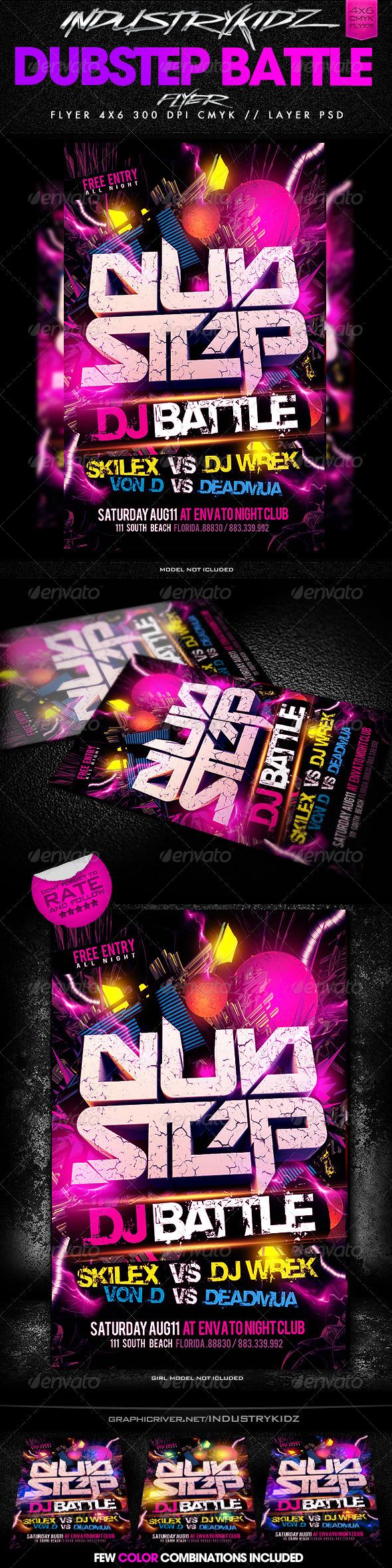 Dubstep Dj Battle Flyer Template - Clubs & Parties Events