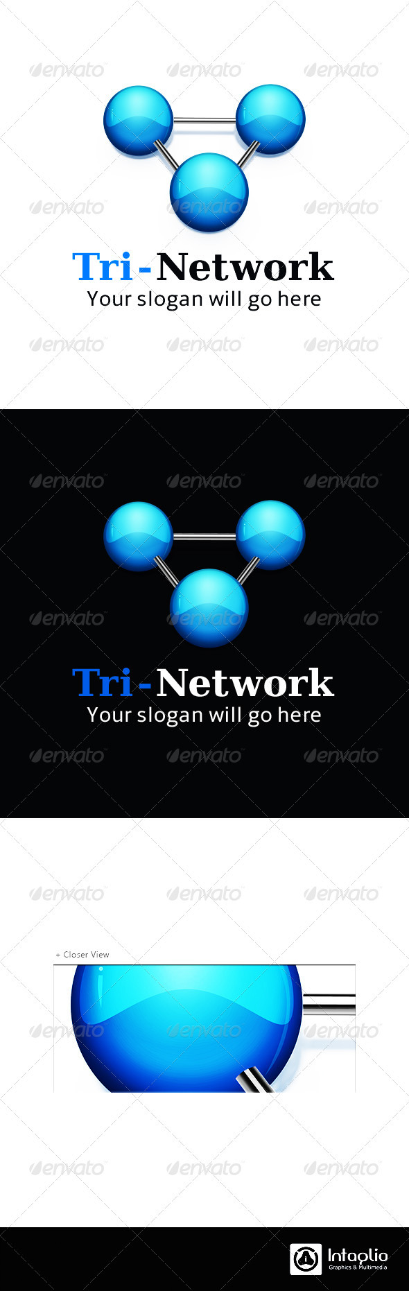 Technology Logo - Tri-Network - 3d Abstract