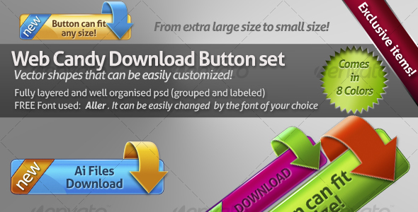 Web candy download button set - Buttons Web Elements