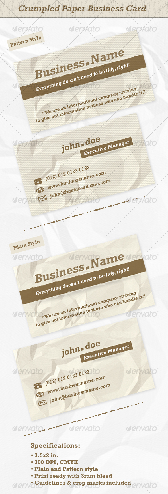 Crumpled Paper Business Card - Grunge Business Cards