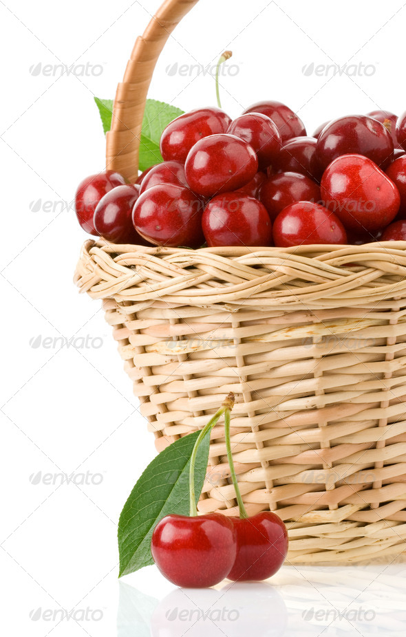 sweet cherry in basket isolated on white - Stock Photo - Images