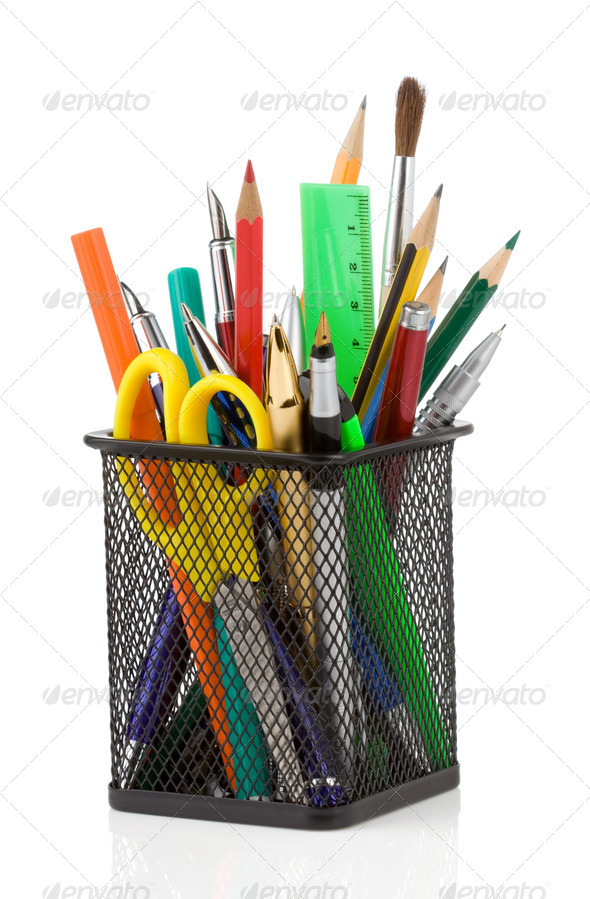 holder basket and office supplies isolated on white - Stock Photo - Images