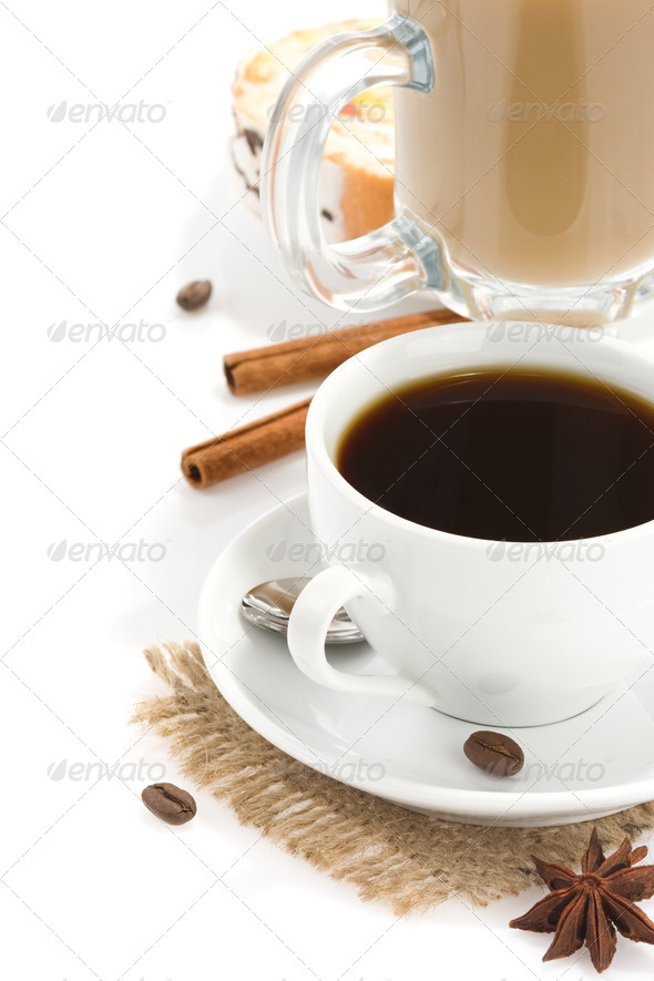 cup of coffee with beans and sweets isolated on white - Stock Photo - Images