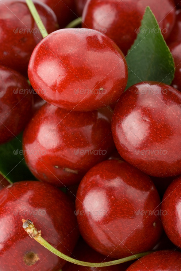 sweet cherry as background - Stock Photo - Images