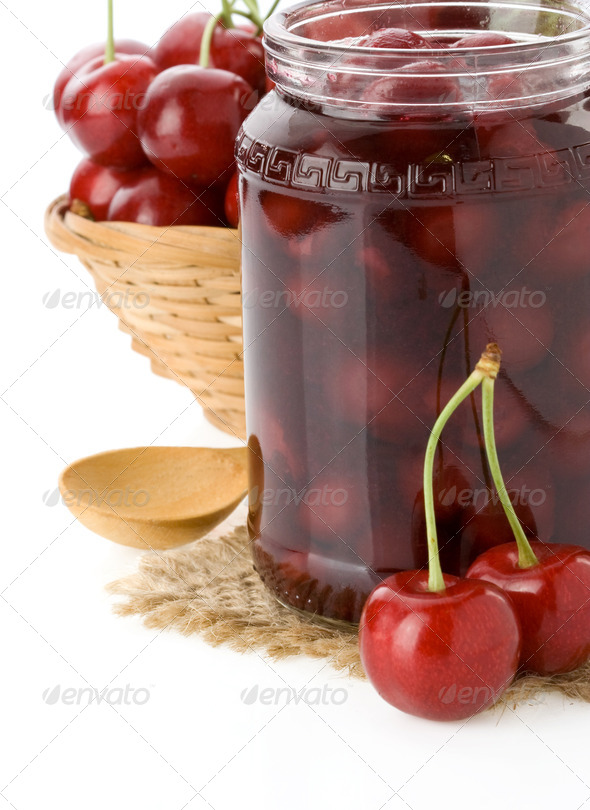 cherry jam isolated on white - Stock Photo - Images