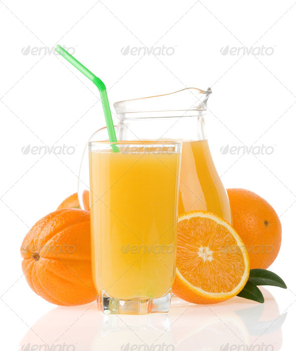 orange juice in glass and jug isolated on white - Stock Photo - Images