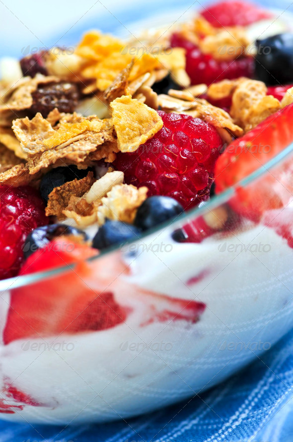 Yogurt With Berries And Granola - Stock Photo - Images