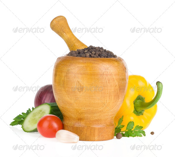mortar with pestle and spices isolated on white - Stock Photo - Images