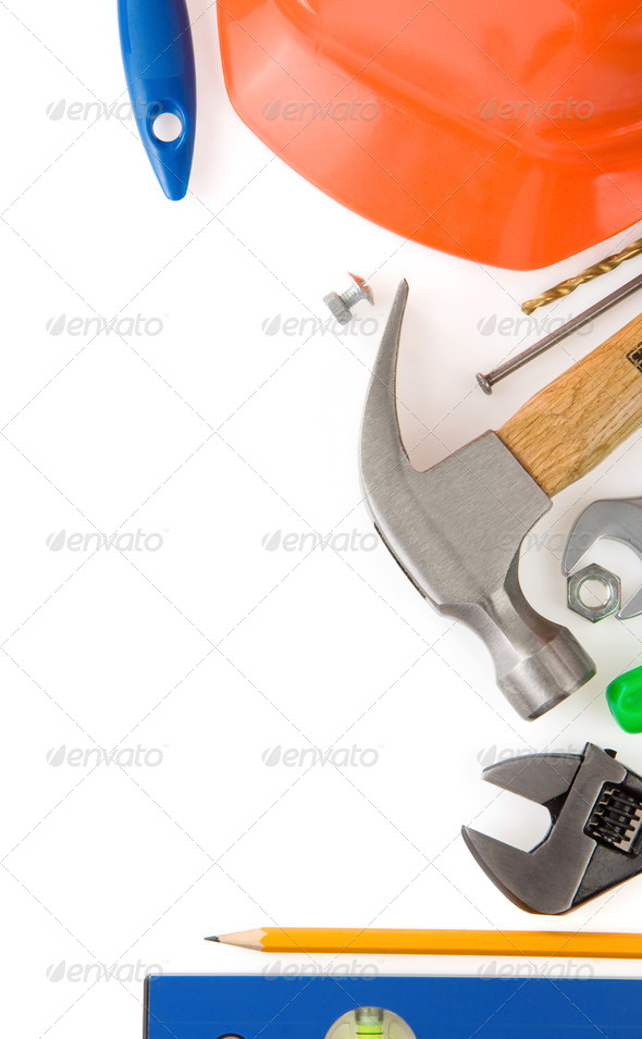 set of tools and instruments isolated on white - Stock Photo - Images