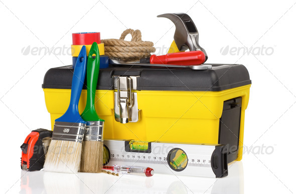 set of tools and instruments in toolbox on white - Stock Photo - Images