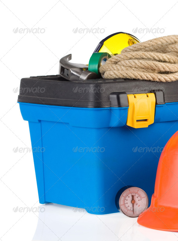 set of tools with box isolated on white - Stock Photo - Images