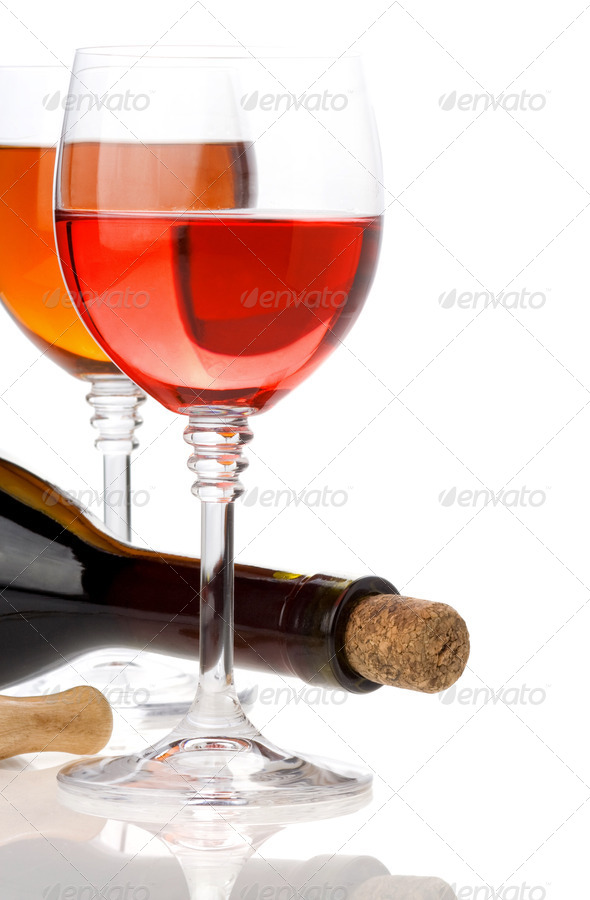 wine in glasses and bottle isolated on white - Stock Photo - Images