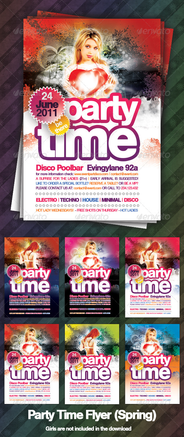 Party Time Flyer (Spring) - Clubs & Parties Events