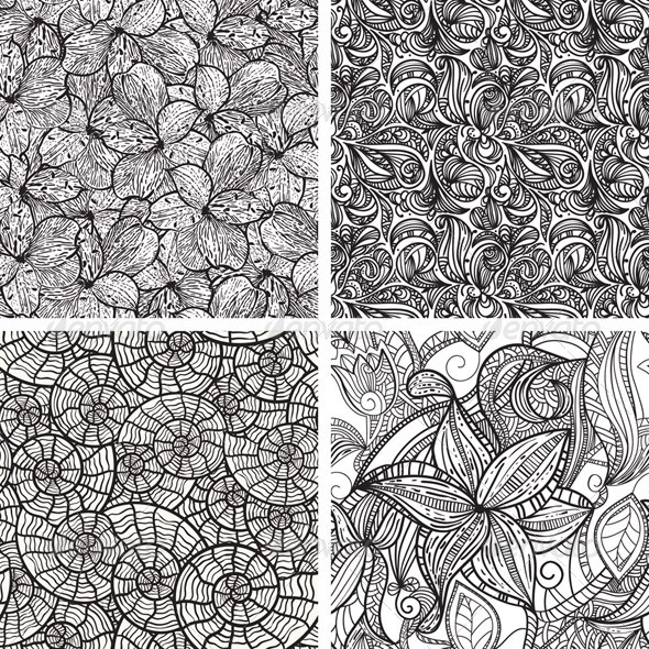 4 Vector Seamless Patterns  - Patterns Decorative