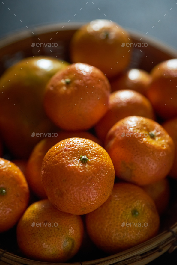 The tangerines in the basket - Stock Photo - Images